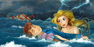 Cartoon adventure scene - storm on the sea - scene with mermaid rescuing someone stock illustration