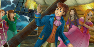 Cartoon adventure scene - storm on the sea - storm on the sea Stock Photography