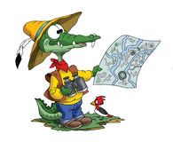 Cartoon adventurer alligator looking his map to find his route. Vector illustration royalty free illustration