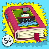 Cartoon Advertising Children Book with a Ship on the Cover Royalty Free Stock Image