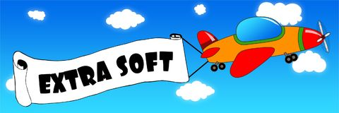 Cartoon aeroplane and banner with EXTRA SOFT text on a blue sky. Background. Illustration concept royalty free illustration