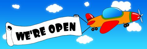 Cartoon aeroplane and banner with WE ARE OPEN text on a blue sky background. Stock Photos