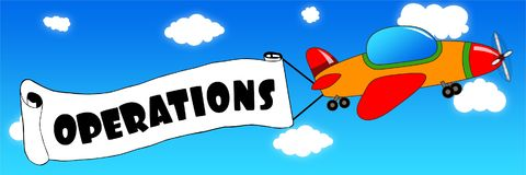 Cartoon aeroplane and banner with OPERATIONS text on a blue sky. Background. Illustration concept Stock Photos