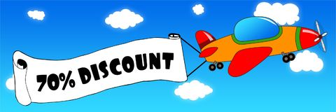 Cartoon aeroplane and banner with 70 PERCENT DISCOUNT text on a. Blue sky background. Illustration concept Stock Images