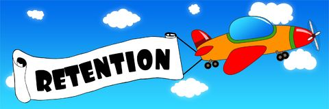 Cartoon aeroplane and banner with RETENTION text on a blue sky b. Ackground. Illustration concept Stock Photos