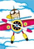 Cartoon Aeroplane with Pilot Stock Images