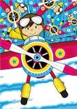 Cartoon Aeroplane with Pilot Royalty Free Stock Photos