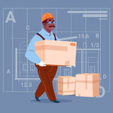 Cartoon African American Builder Carry Box Wearing Uniform And Helmet Construction Worker Over Abstract Plan Background. Male Workman Flat Vector Illustration Stock Images