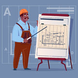 Cartoon African American Builder Explain Plan Of Building Blueprint Wearing Uniform And Helmet Construction Worker. Contractor Male Workman Flat Vector Royalty Free Stock Image