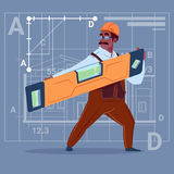 Cartoon African American Builder Holding Carpenter Level Wearing Uniform And Helmet Construction Worker Over Abstract. Plan Background Flat Vector Illustration Royalty Free Stock Images
