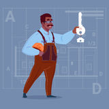 Cartoon African American Builder Holding Key From New House Over Abstract Plan Background Male Workman. Flat Vector Illustration Royalty Free Stock Photos