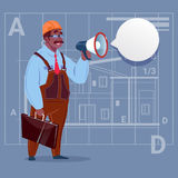 Cartoon African American Builder Holding Megaphone Making Announcement Construction Worker Over Abstract Plan Background. Male Workman Flat Vector Illustration Royalty Free Stock Photo