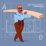 Cartoon African American Builder Holding Planks Wearing Uniform And Helmet Construction Worker Over Abstract Plan. Background Flat Vector Illustration Royalty Free Stock Images
