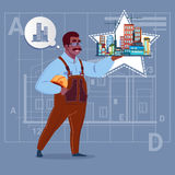 Cartoon African American Builder Holding Small House Ready Real Estate Over Abstract Plan Background Male Workman Royalty Free Stock Photos
