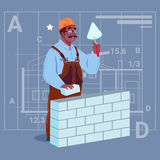 Cartoon African American Builder Laying Brick Wall Hold Spatula Over Abstract Plan Background Male Workman Stock Images