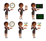 Cartoon African American business woman deadline set. Set of smiling cartoon African American business woman points to the deadline. Girl in suit with clock Stock Photography