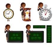 Cartoon African American business woman deadline set 2 Stock Photography