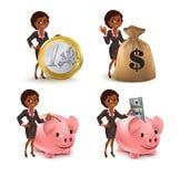 Cartoon African American business woman money set Stock Photography