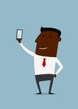 Cartoon african american businessman taking selfie Stock Photo