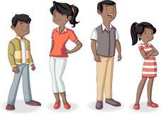 Cartoon african american family. Colorful happy black people. Cartoon african american family Royalty Free Stock Image