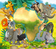 Cartoon african animals - with map - frame for title Stock Photos