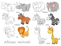 Cartoon african animals outline and colored vector. Illustration stock illustration