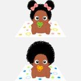 Cartoon African Babies. Cute Cartoon African Baby Girl and Boy royalty free illustration