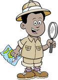 Cartoon African boy explorer Royalty Free Stock Photo