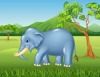 Cartoon African elephant in the jungle Stock Image
