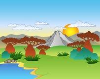 Cartoon African landscape. Illustration Stock Photo