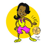 Cartoon of african,latino, indian, Basketball girls Stock Images