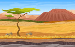 Cartoon african panorama savanna landscape. Seamless cartoon african panorama savanna landscape with tree, mountains, yellow grass and sand stock illustration