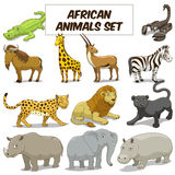 Cartoon african savannah animals set vector Stock Photography