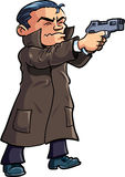 Cartoon agent in a coat with a gun. Isolated on white Stock Photos