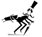 Cartoon aggressive dog and frightened man black on white isolated Royalty Free Stock Image
