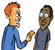 Cartoon aggressive man giving card Royalty Free Stock Images
