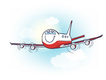 Cartoon air plane with smiling face and eyes in the sky with sun Royalty Free Stock Photos