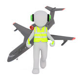 Cartoon Air Traffic Controller with Airplane Royalty Free Stock Photography