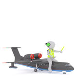 Cartoon Air Traffic Controller Riding on Airplane Stock Images
