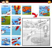 Cartoon aircraft jigsaw puzzle game Stock Photos