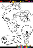 Cartoon aircraft set for coloring book Stock Image