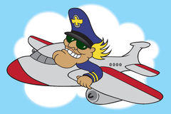 Cartoon Airline Pilot Stock Photography