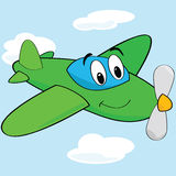 Cartoon airplane. Cartoon illustration of a cute airplane with a smiling face royalty free illustration