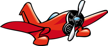 Cartoon airplane. Illustration of a red airplane, cartoon style Stock Photos