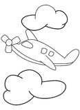 Cartoon airplane with clouds coloring page Stock Images