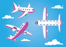 Cartoon airplane from different angles. A cartoon style airplane illustrated from different angles on a cloudy sky background stock illustration