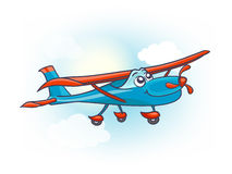 Cartoon airplane with eyes stock illustration
