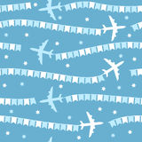 Cartoon airplane with flags seamless pattern Stock Images