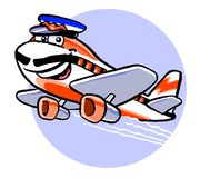 Cartoon airplane in flight. Cartoon caricature of airplane in flight with pilot hat and mustache Royalty Free Stock Images