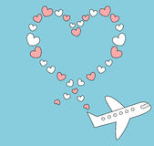 Cartoon airplane flying in the blue sky and make heart shape romantic cute illustration Royalty Free Stock Photos